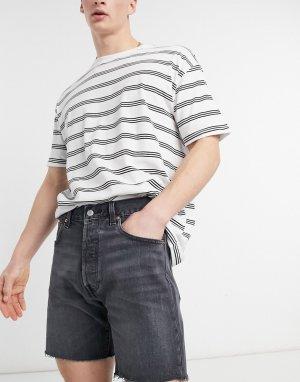 Черные выбеленные джинсовые шорты Levis 501-Черный цвет Levi's