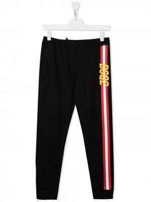 Спортивные брюки с логотипом и полосками Dsquared2 Kids. Цвет: черный