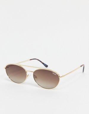 Женские золотистые солнцезащитные очки в узкой овальной оправе Quay Easily Amused-Золотистый Australia