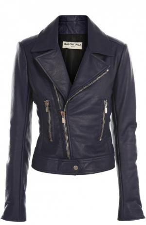 Куртка кожаная Balenciaga. Цвет: синий