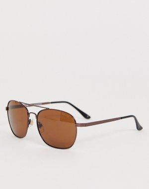 Темно-коричневые солнцезащитные очки-авиаторы с поляризованными стеклами Levis-Коричневый Levi's
