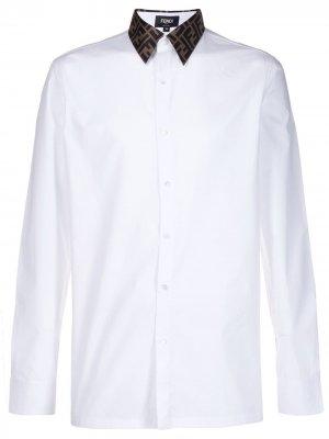 Строгая рубашка с логотипом на воротнике Fendi. Цвет: белый