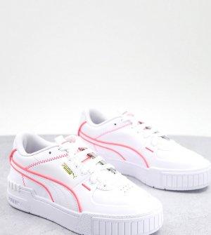Белые кроссовки с неоново-розовой отделкой PUMA Cali Sport – эксклюзивно для ASOS-Белый