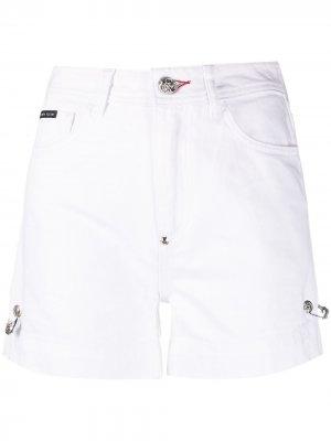 Декорированные джинсовые шорты Philipp Plein. Цвет: белый