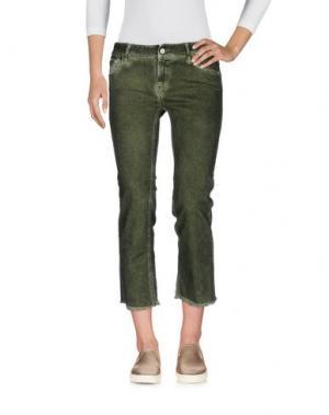 Джинсовые брюки-капри CYCLE. Цвет: зеленый-милитари