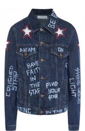 Джинсовая куртка с декорированной отделкой Faith Connexion. Цвет: синий
