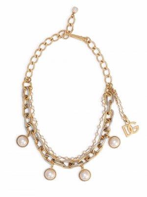 Многослойная цепочка на шею Dolce & Gabbana. Цвет: золотистый