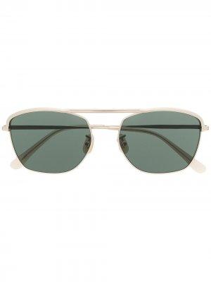 Солнцезащитные очки в квадратной оправе Lesca. Цвет: золотистый