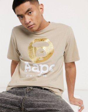 Бежевая футболка с логотипом AAPE By A Bathing Ape-Светло-коричневый APE®
