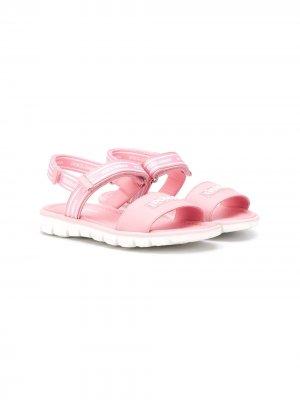 Сандалии с логотипом Dolce & Gabbana Kids. Цвет: розовый