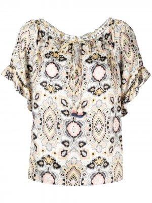 Блузка с геометричным принтом Hale Bob. Цвет: нейтральные цвета