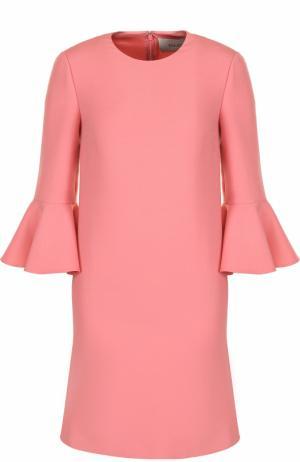 Мини-платье с расклешенными рукавами и круглым вырезом Valentino. Цвет: розовый