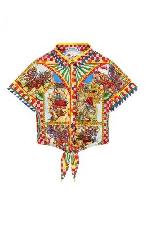 Хлопковая блузка Dolce & Gabbana. Цвет: разноцветный