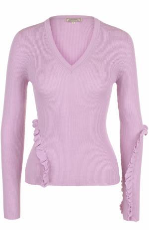 Шерстяной пуловер фактурной вязки с оборками Nina Ricci. Цвет: светло-розовый
