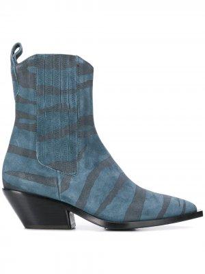 Ботинки с анималистичным узором A.F.Vandevorst. Цвет: синий
