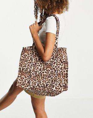 Большая сумка с леопардовым принтом от комплекта -Коричневый цвет Object