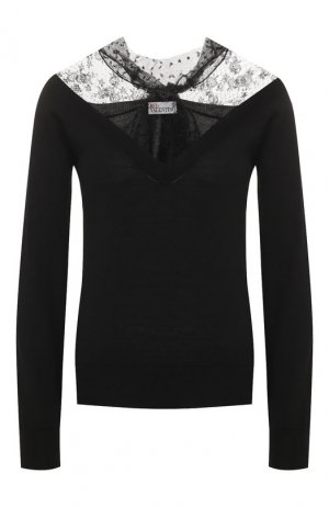 Шерстяной пуловер REDVALENTINO. Цвет: черный