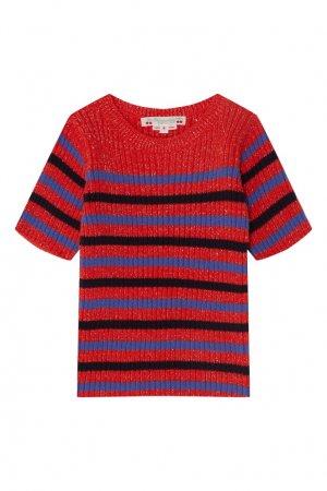 Красный полосатый пуловер с коротким рукавом Bonpoint. Цвет: красный
