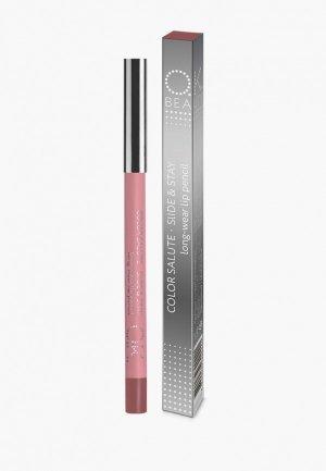 Карандаш для губ OK Beauty COLOR SALUTE SLIDE and STAY long-wear lip pencil, тон HAPPY END. Цвет: розовый