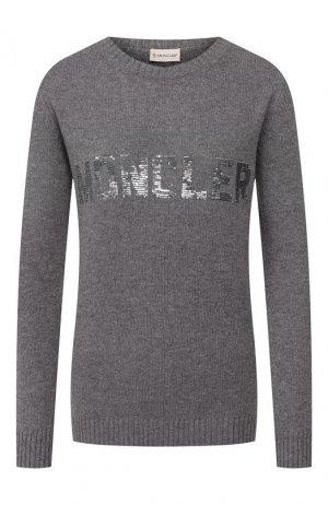 Пуловер из смеси шерсти и кашемира Moncler. Цвет: серый