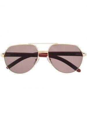 Солнцезащитные очки-авиаторы Cartier Eyewear. Цвет: оранжевый