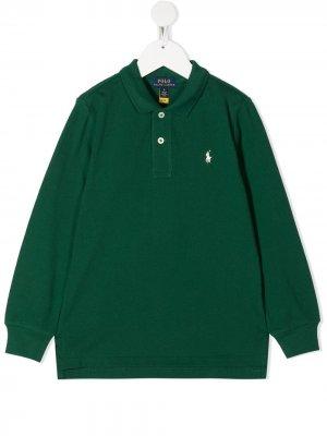 Рубашка поло с длинными рукавами Ralph Lauren Kids. Цвет: зеленый