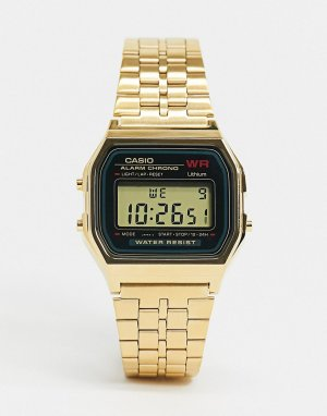 Цифровые часы в стиле унисекс с золотистым браслетом A159WGEA-1EF unisex-Золотистый Casio