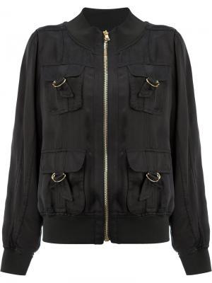 Куртка-бомбер с D-образными пряжками на карманах Balmain. Цвет: чёрный