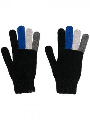 Трикотажные перчатки в стиле колор-блок Paul Smith. Цвет: черный