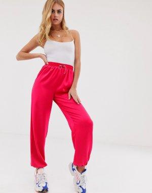 Однотонные шелковистые брюки карго -Розовый ASOS DESIGN