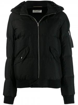 Пуховик на молнии Saint Laurent. Цвет: черный