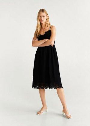 Хлопковое платье с вышивкой - Paso-h Mango. Цвет: черный