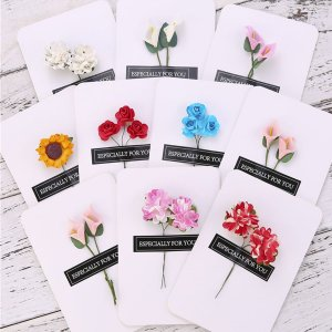 10шт Поздравительная открытка и искусственный цветок стикер SHEIN. Цвет: многоцветный