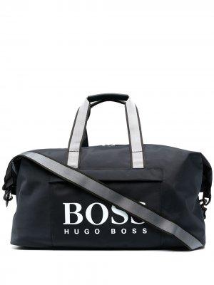 Дорожная сумка с логотипом BOSS. Цвет: синий