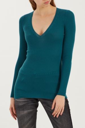 Бирюзовый пуловер в рубчик Gucci. Цвет: multicolor