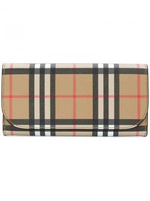 Континентальный кошелек в клетку Vintage Check Burberry. Цвет: черный