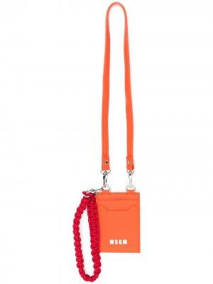 Картхолдер с логотипом и шнурком на шею MSGM. Цвет: оранжевый