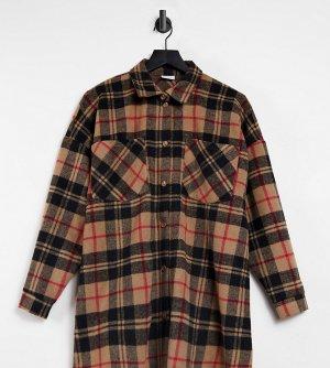 Бежевая куртка-рубашка в стиле oversized клетку -Многоцветный Pieces Maternity