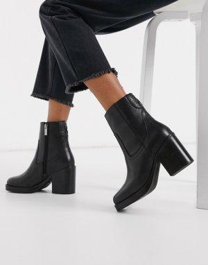 Черные кожаные ботильоны на каблуке с квадратным носком -Черный Bronx