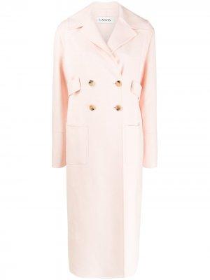 Длинное двубортное пальто LANVIN. Цвет: розовый
