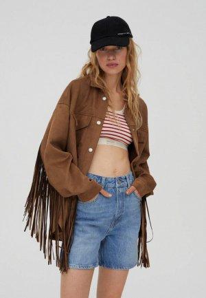 Куртка кожаная Pull&Bear. Цвет: коричневый
