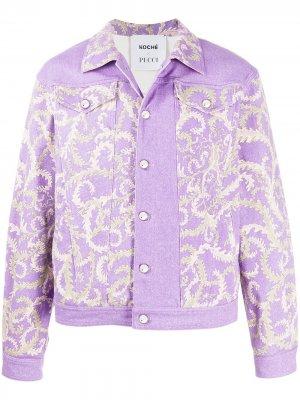 Джинсовая куртка с принтом Selva из коллаборации KOCHÉ Emilio Pucci. Цвет: фиолетовый