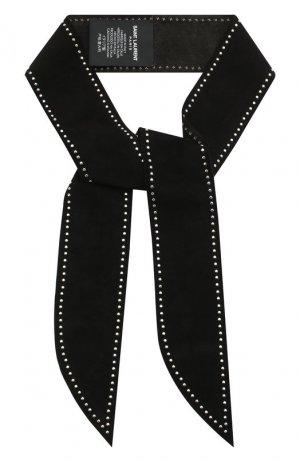 Замшевый шарф-бандо Saint Laurent. Цвет: черный
