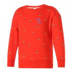 Детская толстовка x TINYCOTTONS Printed Crew Neck Kids Sweatshirt PUMA. Цвет: красный
