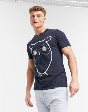 Темно-синяя футболка из органического хлопка с рисунком совы -Темно-синий Knowledge Cotton Apparel