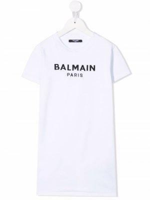 Logo-print T-shirt dress Balmain Kids. Цвет: белый