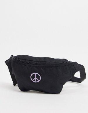Черная сумка-кошелек на пояс с вышивкой в виде пацифика -Черный ASOS DESIGN