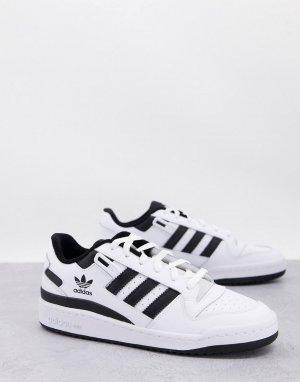 Белые низкие кроссовки с черными вставками Forum-Белый adidas Originals