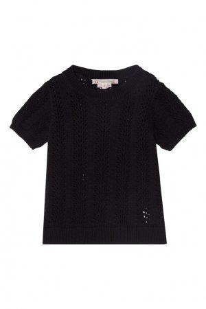 Вязаный пуловер черного цвета Bonpoint. Цвет: черный