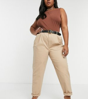 Светло-бежевые брюки-чиносы ASOS DESIGN Curve hourglass-Светло-бежевый